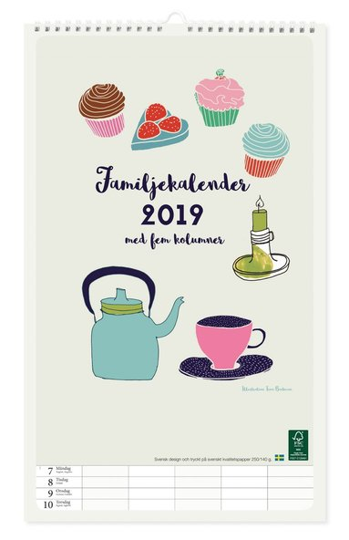 Väggkalender 2019 familj design Tina Backman 1