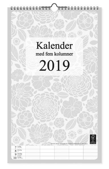 Väggkalender 2019 m 5 kolumner grafik 1