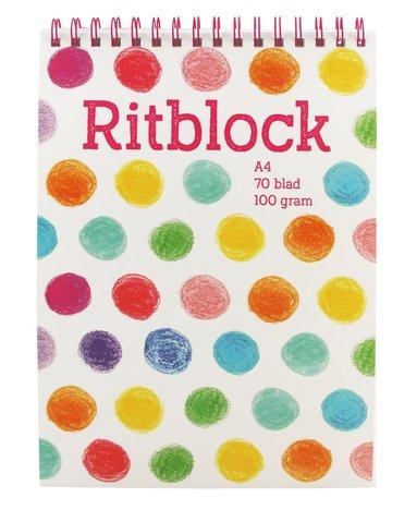 Ritblock A4 med rosa spiral