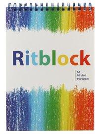 Ritblock A4 med blå spiral