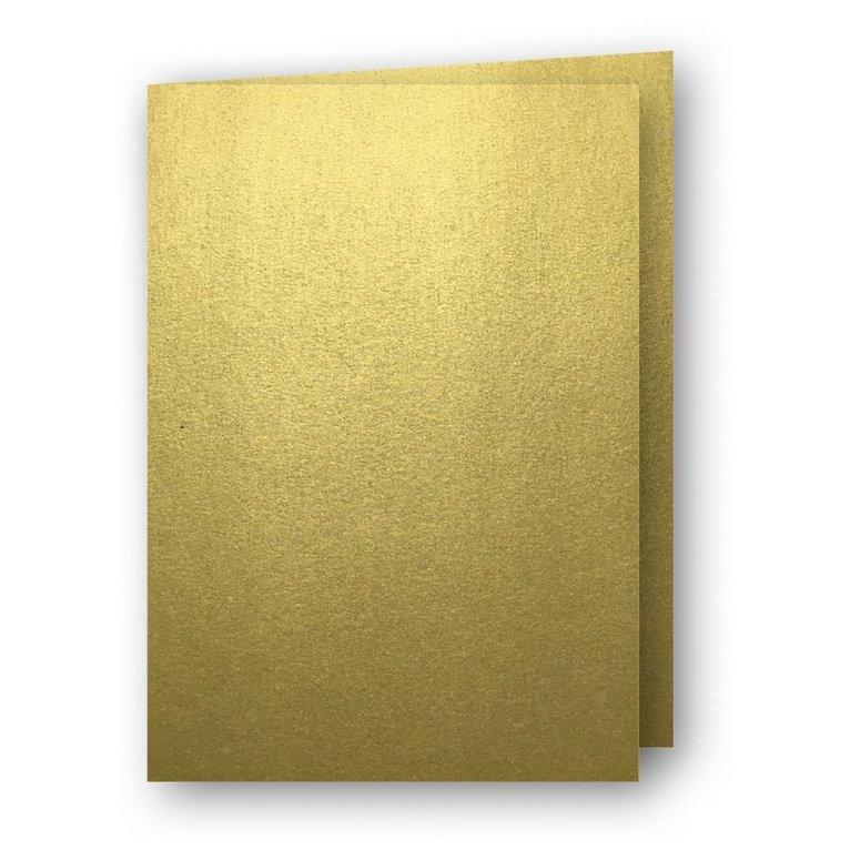 Kort A6 dubbla stående 5-pack guld 1