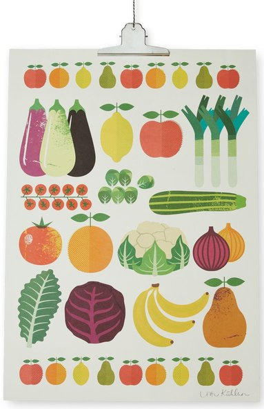Print Frukt & Grönt 50x70cm
