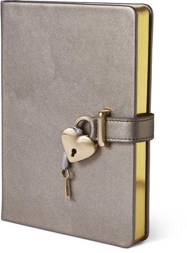 Dagbok med lås och guldsnitt, grå