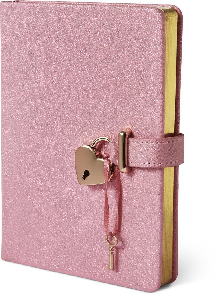 Dagbok med lås och guldsnitt, rosa 1