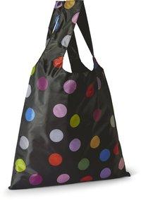 Tygkasse polyester svart med färgade prickar