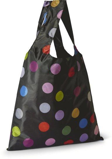 Tygkasse polyester svart med färgade prickar 1