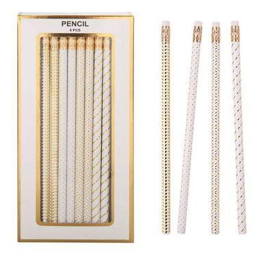 Blyertspenna med sudd 8-pack vit/guld