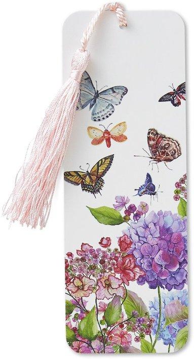 Bokmärke med linjal och tofs fjärilar