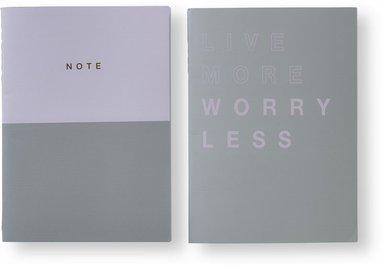 Skrivhäfte 2-pack rosa & grå 1