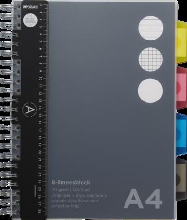Ämnesblock A4 - 8 flikar svart 1