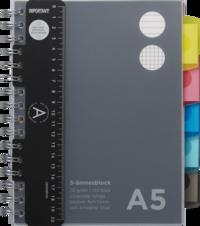 Ämnesblock A5 - 5 flikar svart