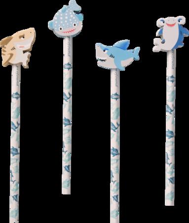 Blyertspenna med suddtopp haj