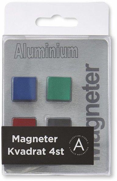 Magnet kvadrat aluminium 4-pack 1