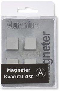 Magnet kvadrat aluminium 4-pack