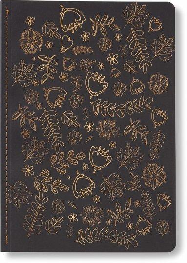 Skrivhäfte 14x20cm linjerad blommor svart/koppar