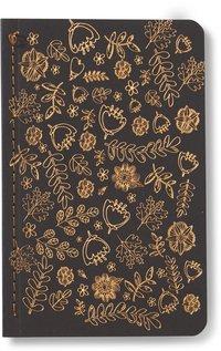 Skrivhäfte 9x14cm linjerad blommor svart/koppar