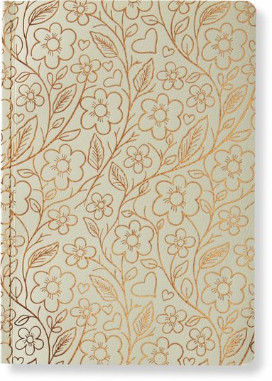 Skrivhäfte 14x20cm linjerad blommor vit/koppar