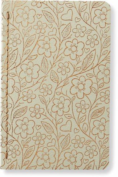 Skrivhäfte 9x14cm linjerad blommor vit/koppar