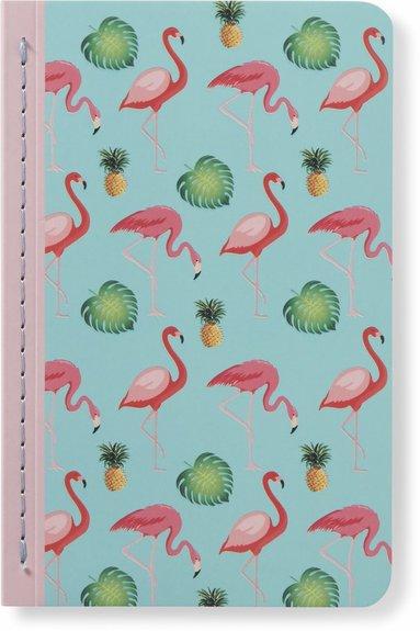 Skrivhäfte 9x14cm linjerad flamingo turkos