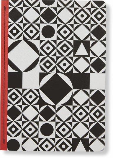 Skrivhäfte 14x20cm linjerad grafisk svart/vit
