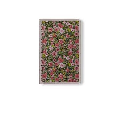 Skrivhäfte 9x14cm linjerad småblommig rosa