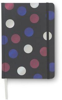 Anteckningsbok 14x20cm med resårband linjerad prickar svart/multi