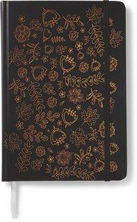 Anteckningsbok 14x20cm med resårband linjerad blommor svart/koppar