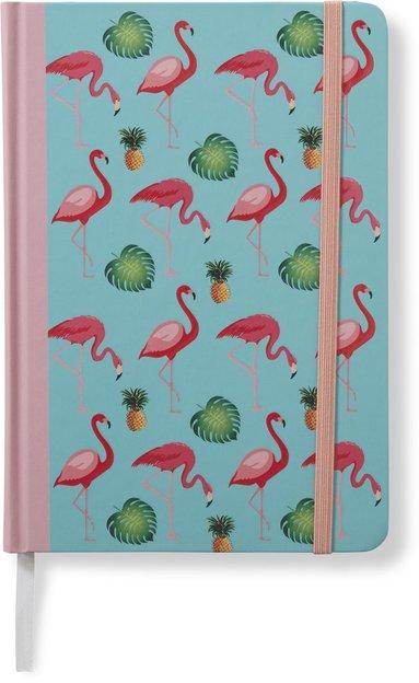 Anteckningsbok 14x20cm med resårband olinjerad flamingo rosa/turkos