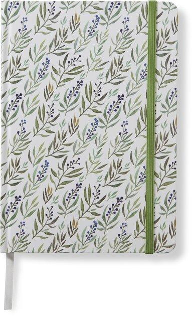 Anteckningsbok 14x20cm med resårband linjerad botanic grön