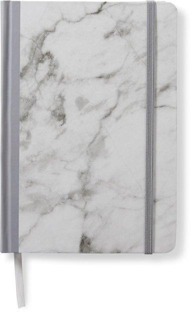 Anteckningsbok 14x20cm med resårband linjerad marmor grå