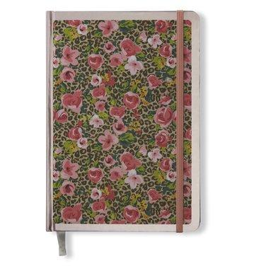 Anteckningsbok 14x20cm med resårband olinjerad småblommig rosa