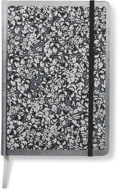 Anteckningsbok 14x20cm med resårband olinjerad småblommig svart
