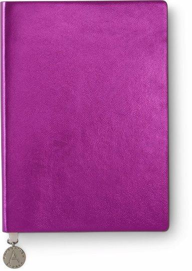 Anteckningsbok A6 linjerad mjuk pärm, metallic rosa 1