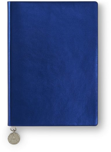 Anteckningsbok A6 linjerad mjuk pärm, metallic blå 1