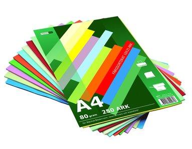 Kopieringspapper A4 80g 250 ark sorterade färger