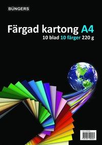 Kartong A4 220g 10 ark sorterade färger