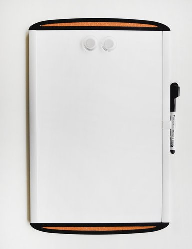 Whiteboardtavla magnetisk 46x60cm med korkstrip