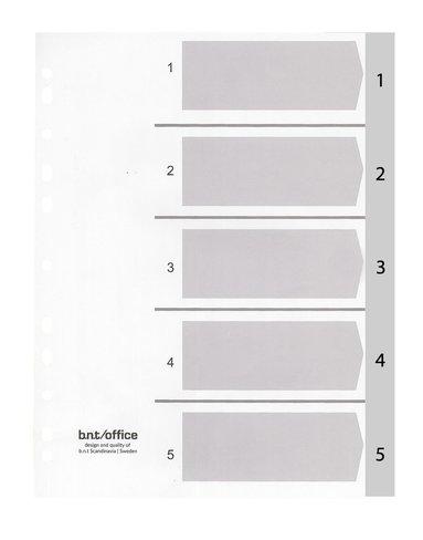 Register A4 1-5 plast grå