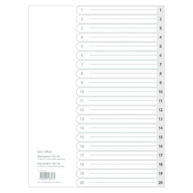 Register A4 1-20 plast grå