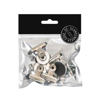 Pappersklämma bulldog 31mm med magnet 4 st silver