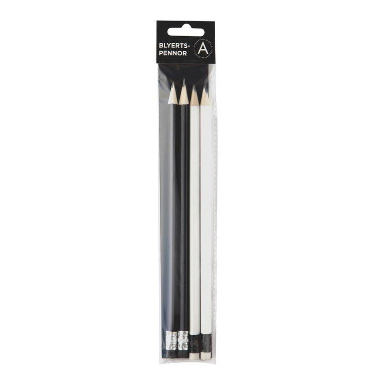 Blyertspenna HB 4-pack vit & svart 1