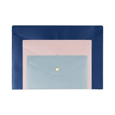 Kuvertmapp 3-pack blå, rosa, ljusblå