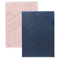 Aktmapp 2-pack marinblå/rosa