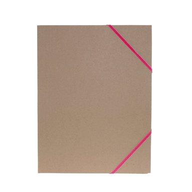 Gummibandsmapp A4 kartong rosa band natur