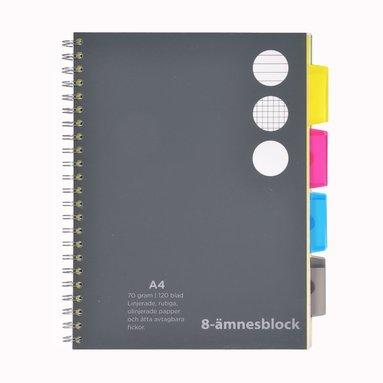 Ämnesblock A4 - 8 flikar svart
