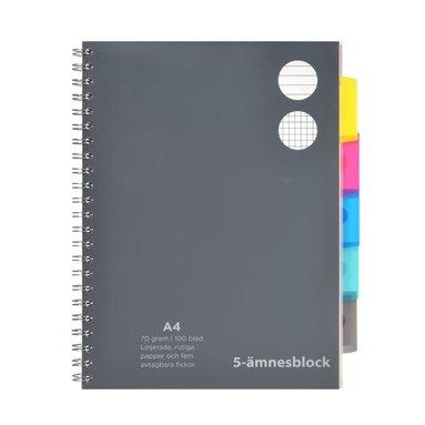 Ämnesblock A4 - 5 flikar svart