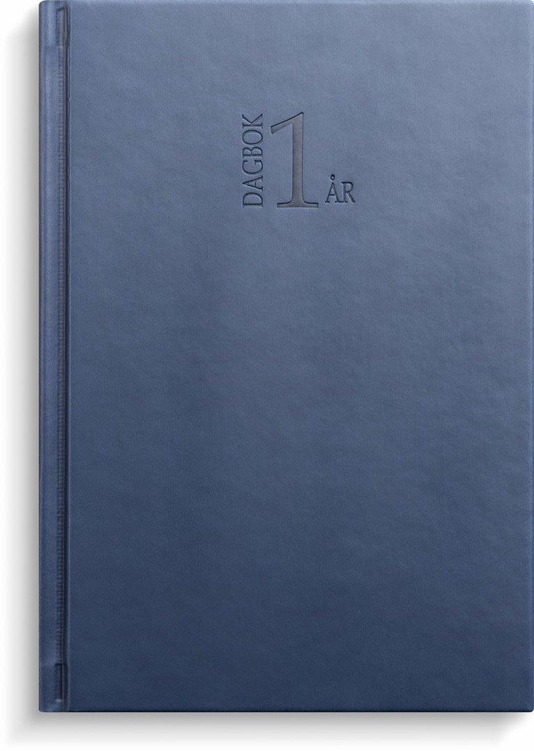 Kalender 2022 1-årsdagbok konstläder blå 1