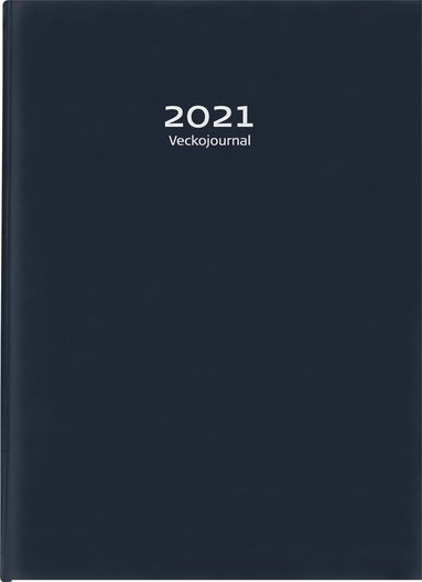 Kalender 2021 Veckojournal konstläder mörkblå 1
