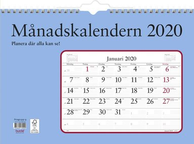Väggkalender 2020 Månadskalendern 1