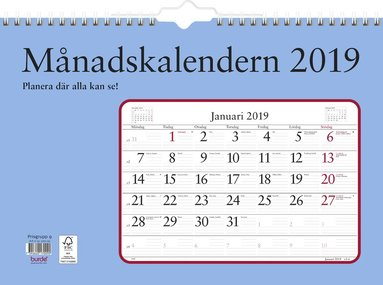 Väggkalender 2019 Månadskalendern 1